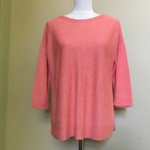 J JILL coral pink linen Oversized sweater top S